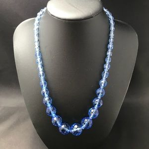 Vintage blue crystal faceted bead necklace